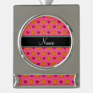Custom name pink basketballs and hearts silver plated banner ornament