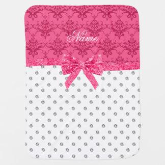 Custom name pink bow white diamond pink damask swaddle blankets