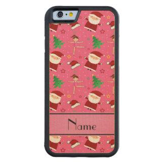 Custom name pink christmas gymnastics santas carved® maple iPhone 6 bumper