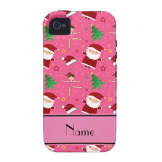 Custom name pink christmas gymnastics santas iPhone 4/4S case