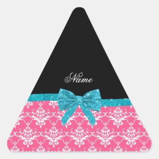 Custom name pink damask turquoise glitter bow triangle sticker