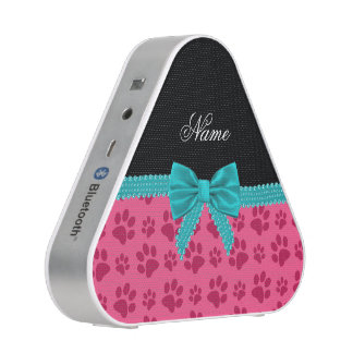 Custom name pink dog paws turquoise bow