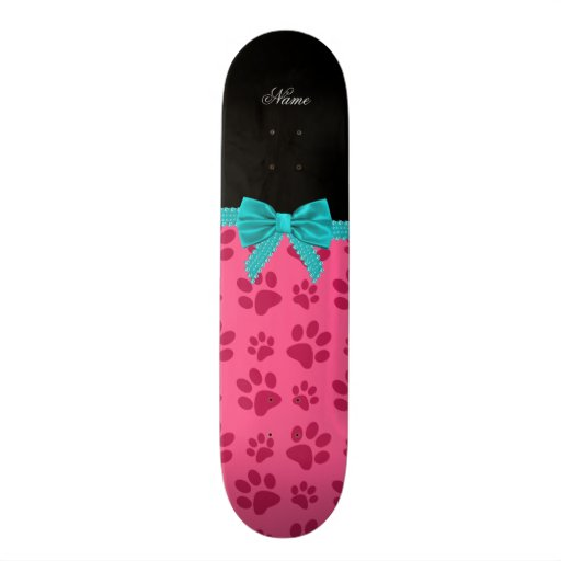 Custom name pink dog paws turquoise bow skate board