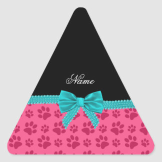 Custom name pink dog paws turquoise bow triangle stickers