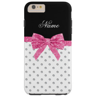 Custom name pink glitter bow white diamonds tough iPhone 6 plus case