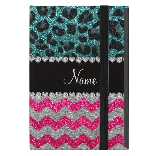 Custom name pink glitter chevrons turquoise leopar case