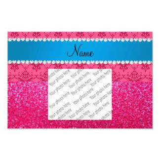 Custom name pink glitter damask blue stripe photo print