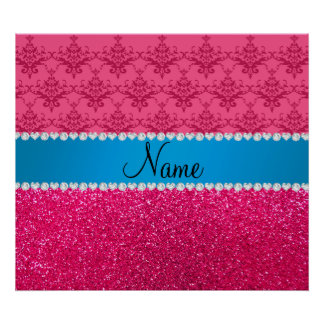 Custom name pink glitter damask blue stripe poster