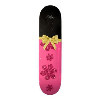 Custom name pink glitter flowers gold bow 19.7 cm skateboard deck