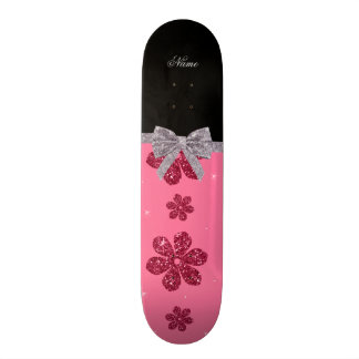 Custom name pink glitter flowers silver bow 21.6 cm old school skateboard deck