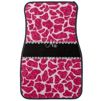 Custom name pink glitter giraffe car mat