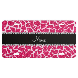 Custom name pink glitter giraffe license plate
