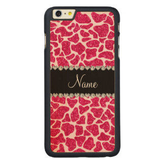 Custom name pink glitter giraffe carved® maple iPhone 6 plus case