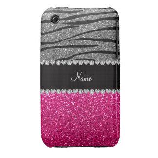 Custom name pink glitter light gray zebra stripes Case-Mate iPhone 3 case