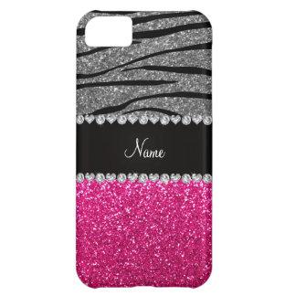 Custom name pink glitter light gray zebra stripes iPhone 5C case