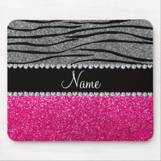 Custom name pink glitter light gray zebra stripes mouse mat