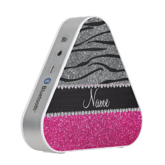 Custom name pink glitter light gray zebra stripes bluetooth speaker