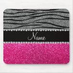 Custom name pink glitter light grey zebra stripes mousepad