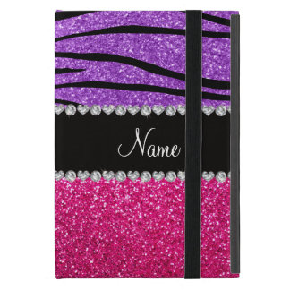 Custom name pink glitter pastel purple zebra strip iPad mini case