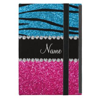 Custom name pink glitter sky blue zebra stripes cases for iPad mini