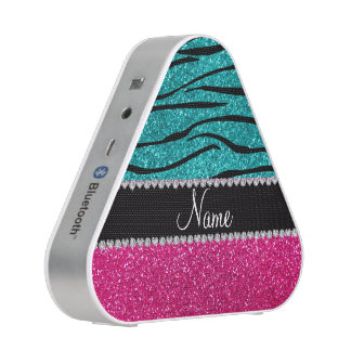 Custom name pink glitter turquoise zebra stripes bluetooth speaker