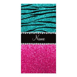 Custom name pink glitter turquoise zebra stripes photo card