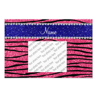 Custom name pink glitter zebra blue glitter stripe photo art