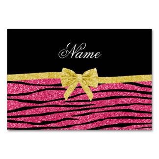 Custom name pink glitter zebra stripes gold bow table card