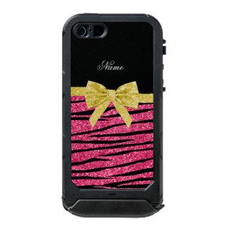 Custom name pink glitter zebra stripes gold bow incipio ATLAS ID™ iPhone 5 case