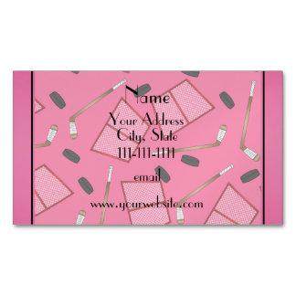 Custom name pink hockey sticks pucks nets magnetic business cards