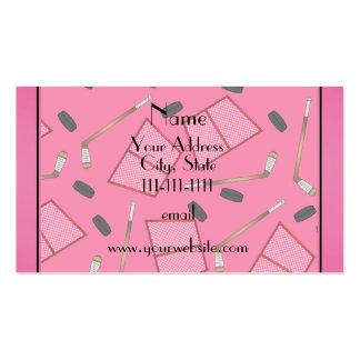 Custom name pink hockey sticks pucks nets pack of standard business cards