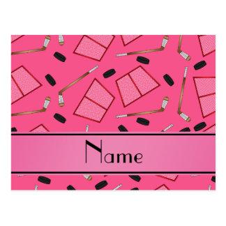 Custom name pink hockey sticks pucks nets postcard