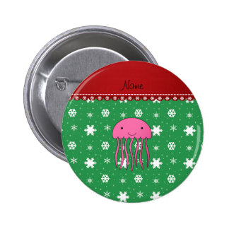Custom name pink jellyfish green white snowflakes 6 cm round badge