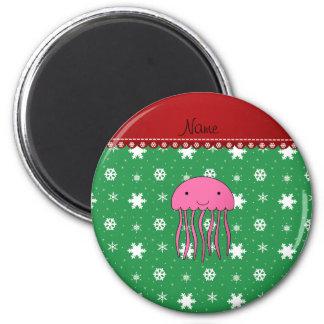 Custom name pink jellyfish green white snowflakes 6 cm round magnet