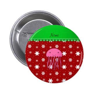 Custom name pink jellyfish red white snowflakes 6 cm round badge
