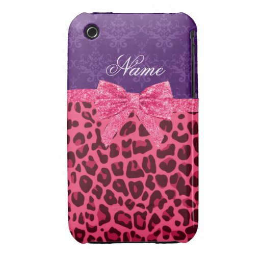 Custom name pink leopard purple damask bow iPhone 3 cases