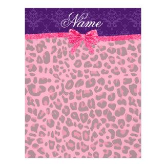 Custom name pink leopard purple damask bow flyers