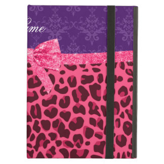 Custom name pink leopard purple damask bow iPad folio case