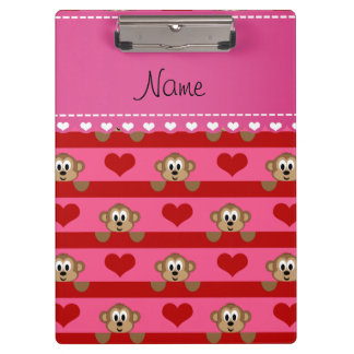Custom name pink monkeys red hearts stripes clipboard