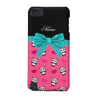 Custom name pink pandas hearts turquoise bow iPod touch (5th generation) cover