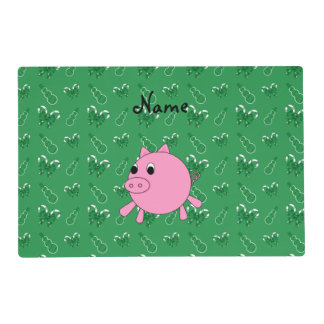 Custom name pink pig green candy canes snowmen laminated place mat