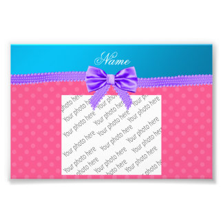 Custom name pink polka dots purple bow photograph