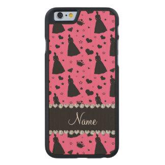 Custom name pink princess hearts stars crown carved® maple iPhone 6 slim case