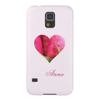 Custom Name Pink Rose Heart Galaxy S5 Case