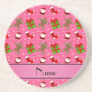 Custom name pink santas gingerbread coaster