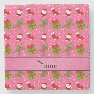 Custom name pink santas gingerbread stone coaster