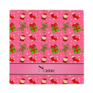 Custom name pink santas gingerbread maple wood coaster