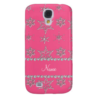 Custom name pink silver snowflakes pink stripe samsung galaxy s4 cover