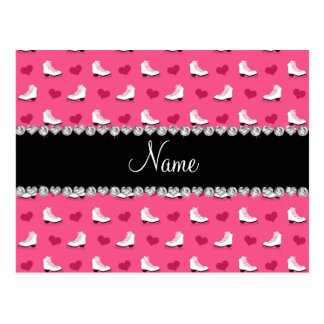 Custom name pink skates and hearts post cards