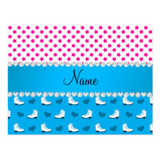 Custom name pink stars sky blue skates and hearts post card